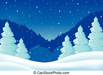 thème, paysage, hiver, 2