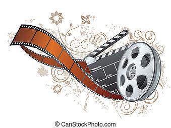 thème, pellicule, film, bande, élément