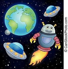 thème, voler, robot, espace