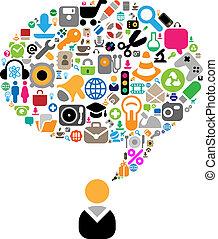thèmes, conversation, ensemble, icônes
