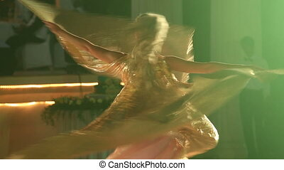 théâtral, girl, virages, danses, déguisement, blond, ailes
