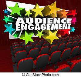 théâtre, foule, film, engagement, audience, divertir, participation