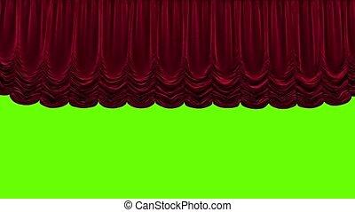 théâtre, rideau, fond, rouge vert
