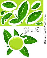 thé, arrière-plan vert