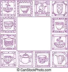 thé, cadre, pots, main, conception, dessiné, tasses