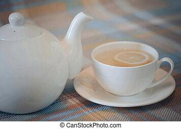 thé, chaud, citron, tasse