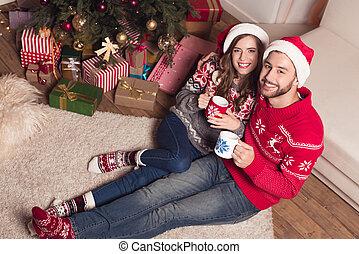 thé, couple, chapeaux, boire, santa