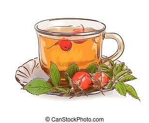 thé, dogrose.