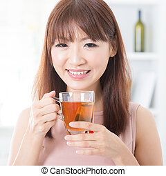 thé, girl, apprécier, asiatique