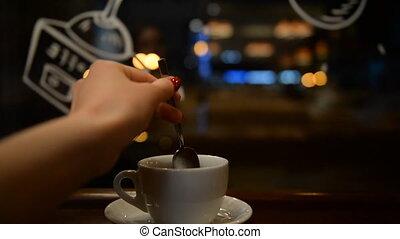 thé, girl, café, boire, jeune
