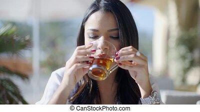 thé, girl, café, boire