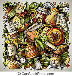 thé, illustration, vecteur, temps, doodles, dessin animé