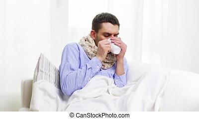thé, malade, grippe, chaud, maison, boire, homme