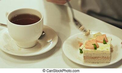 thé, mange, gâteau, table, blanc, girl, boissons