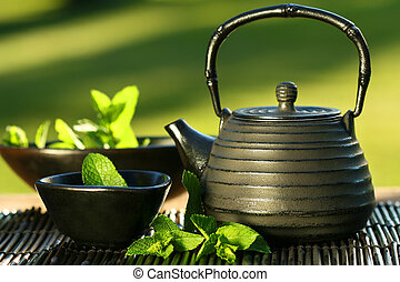 thé, menthe, asiatique, théière, noir