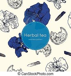 thé, seamless, séché, modèle, herbier, thaï