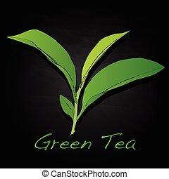 thé, vecteur, feuille, vert