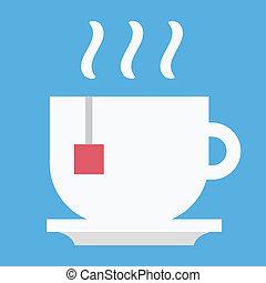 thé, vecteur, icône tasse