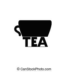 thé, vecteur, illustration, tasse