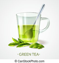 thé, vert, composition, tasse