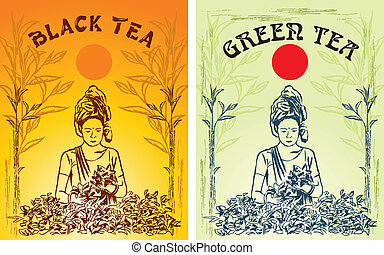 thé, vert, noir, étiquette