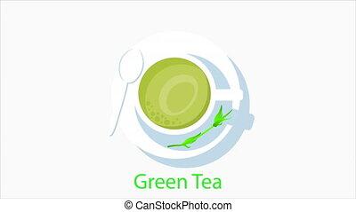 thé vert, plat