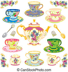 thé, victorien, ensemble