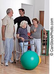 thérapeute, patient, mâle, physique