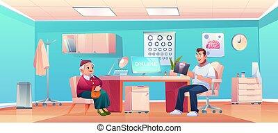 thérapeute, personne agee, bureau, patient, vérification, docteur