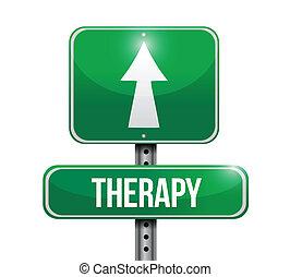 thérapie, conception, route, illustration, signe