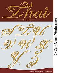 thaï, vecteur, alphabet., calligraphic