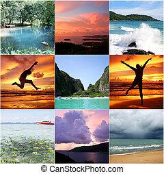 thaïlande, beau, collage