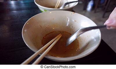thaïlande, nouille, manger, restaurant