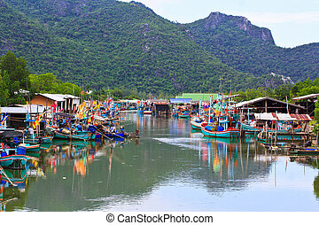 thaïlande, pêchant village