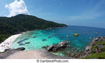 thaïlande, similan, travers, exotique, îles, plage, panoramique, bondé