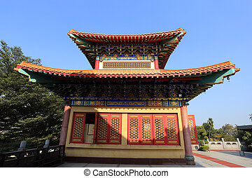 thaïlande, toit, chinois, temple