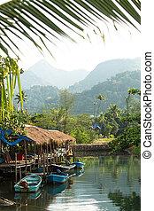 thailand., pêchant village