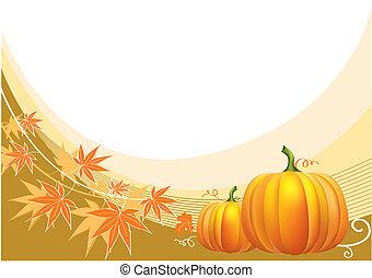thanksgiving, fond, vecteur, pumpkins.