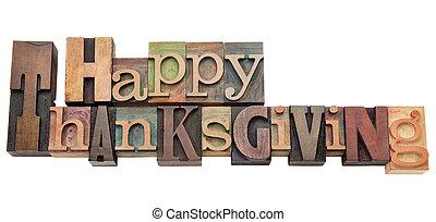 thanksgiving, type, letterpress, heureux