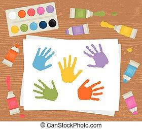 therapy., peindre palette, coloré, handprints., tubes, art, toile