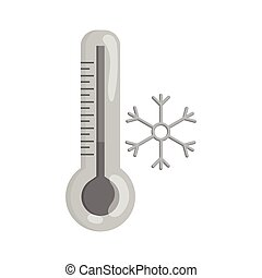 thermomètre, bas, température, icône