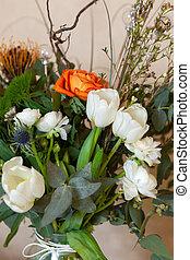thistle., bien aéré, noël, inhabituel, concepteur, eucalyptus, bouquets, immortelle, hiver, décorations, tulipes, concept, ranunculus, composé, extraordinaire, bouquet, beau, il, close-up., fleurs