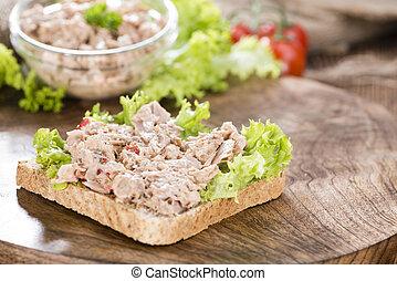 thon, couper, salade, pain