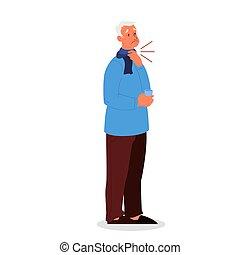 throat., homme, grippe, triste, symptôme, infection., douleur, virus, vieux, ou