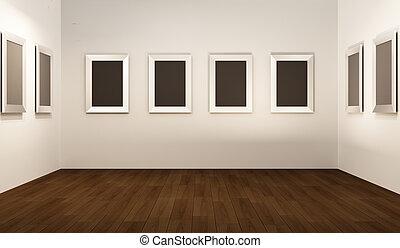 thw, showroom., vide, perspective, interior., cadres, blanc, devant, galerie, mur