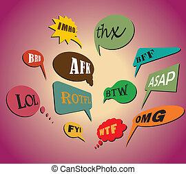 thx, bavarder, wtf, dès possible, style, afk., abréviations, parole, retro, ligne, utilisé, omg, coloré, la plupart, acronyms, included, imho, btw, communément, lol, fyi, bubbles., brb, rotfl