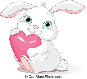 tient, coeur, amour, lapin