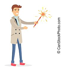 tient, manteau, feux artifice, isolé, beige, appareil, homme