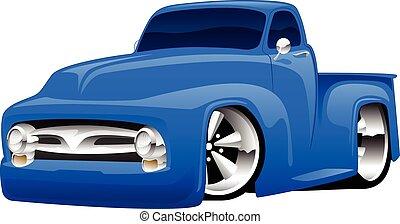 tige, chaud, camion, pick-up, illustration