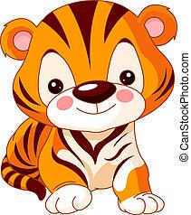 tigre, amusement, zoo.